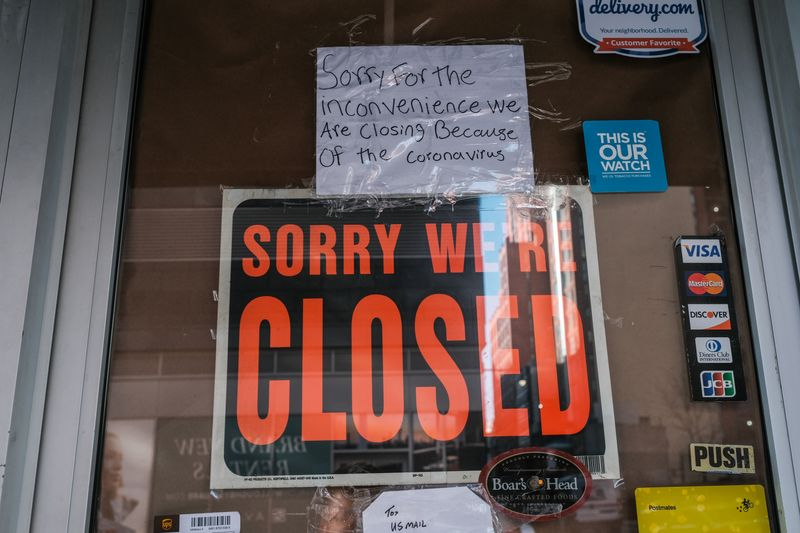 FILE PHOTO:  A deli is seen closed, due to the outbreak of the coronavirus disease (COVID-19) in the Brooklyn borough of New York