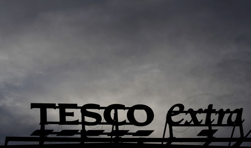 Signage is seen outside a Tesco extra superstore near Manchester