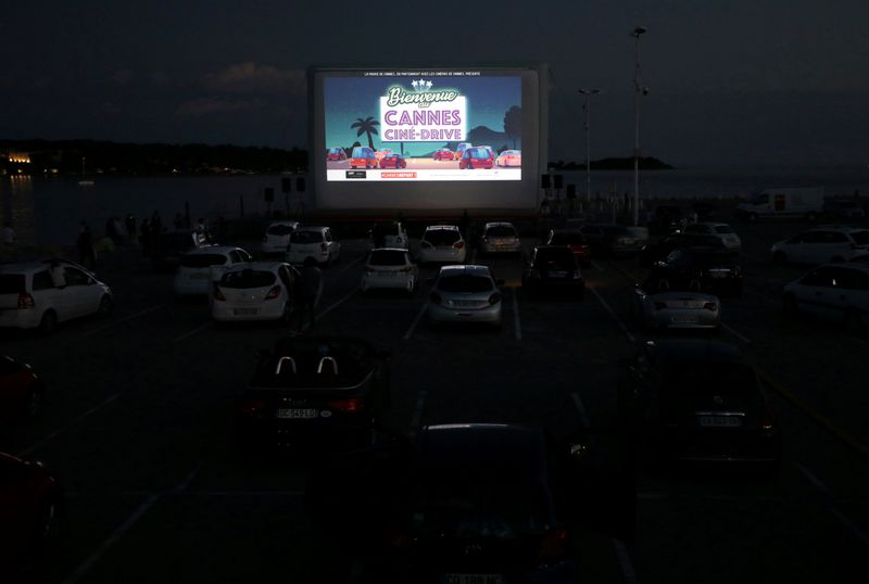 FILE PHOTO: People sit in their cars to watch E.T. at drive-in cinema in Cannes