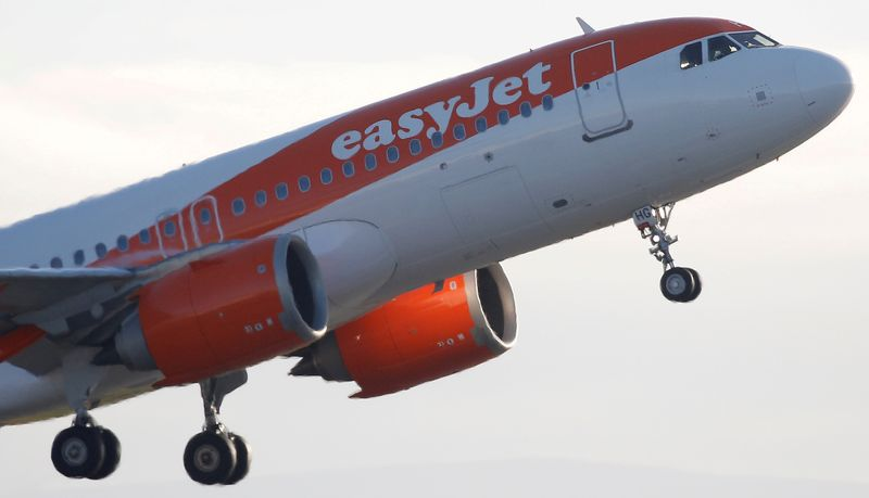 FILE PHOTO: An Easyjet plane takes off from Manchester Airport in Manchester
