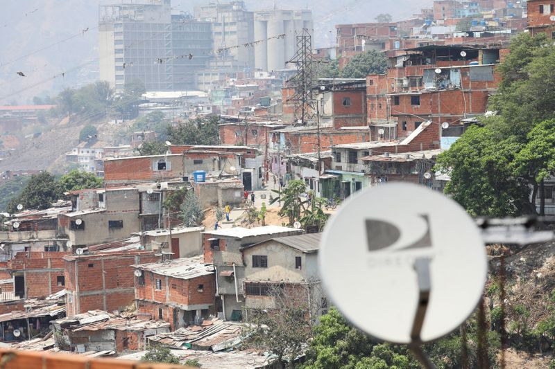 Satellite tv antennas are seen in the low-income neighbourhood Catia after AT&T Inc said on Tuesday it has closed its DirecTV Latin America operations in Venezuela, in Caracas