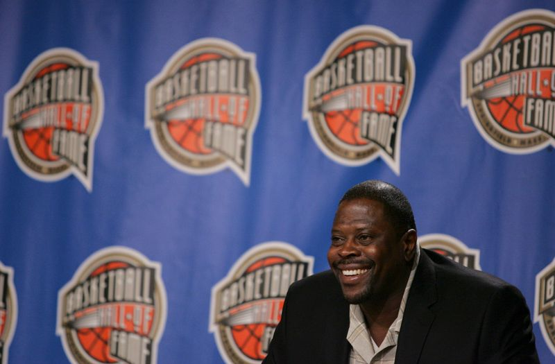 Former NBA player Ewing smiles during an induction news conference at the Basketball Hall of Fame in Springfield