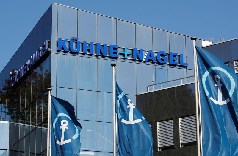 FILE PHOTO: Logo of Swiss logistics group Kuehne + Nagel is seen at its headquarters in Schindellegi