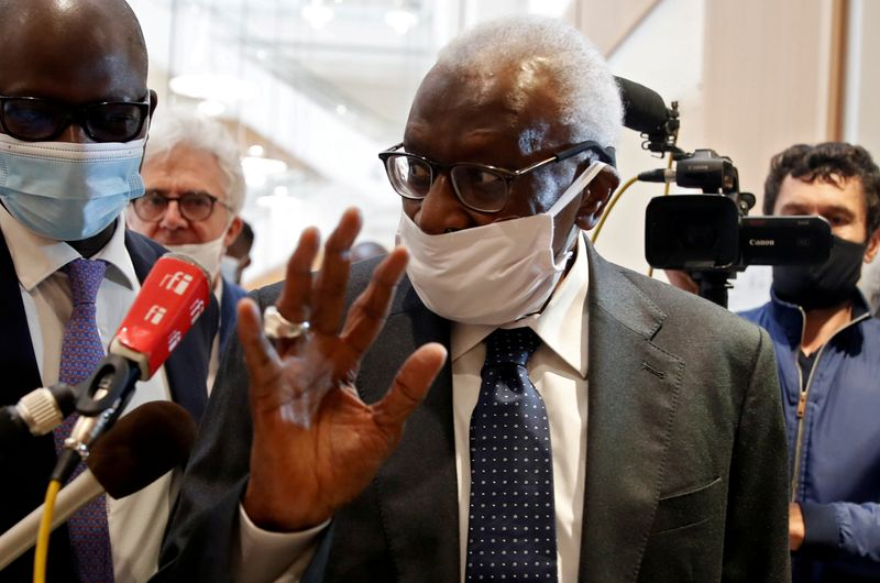 FILE PHOTO: Former IAAF President Lamine Diack attends trial in Paris