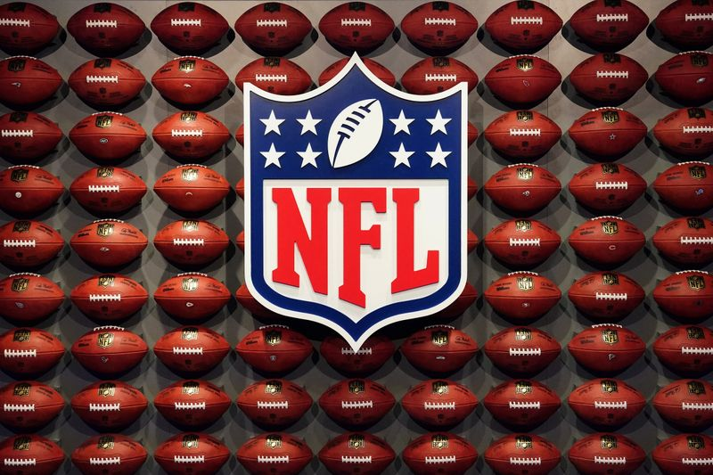 FILE PHOTO: The NFL logo is pictured at an event in the Manhattan borough of New York City