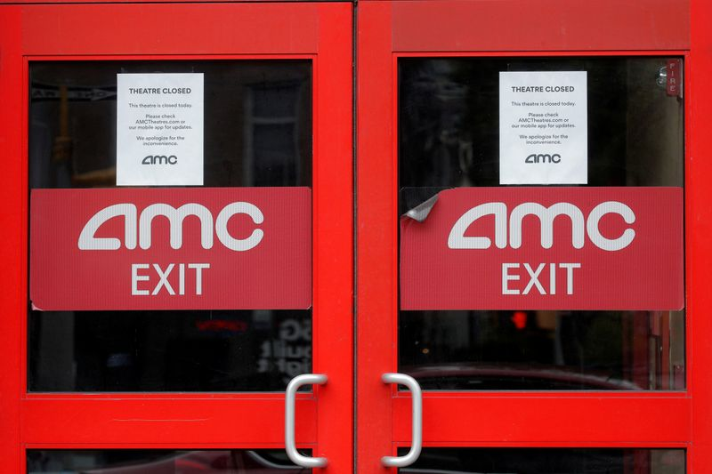 FILE PHOTO:  Closed signs are seen on an AMC Theatre during the outbreak of the coronavirus disease (COVID-19), in New York
