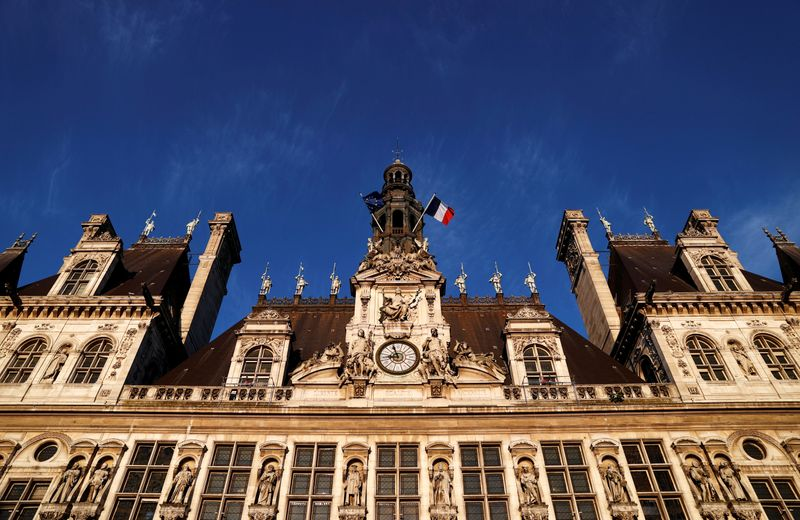 General view shows the facade of Paris city hall