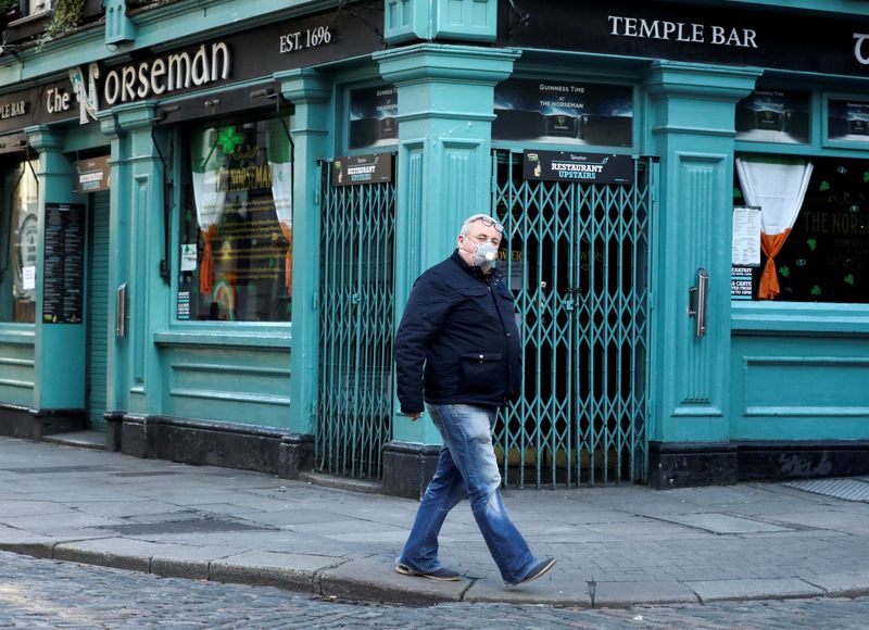 FILE PHOTO: A man wearing a protective face mask passes The Norseman pub, as bars across Ireland are to close voluntarily to curb the spread of coronavirus in Dublin