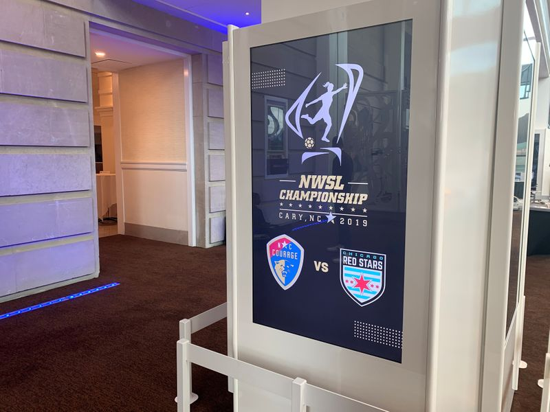 FILE PHOTO:  A logo for the National Women's Soccer League (NWSL) is seen inside the Duke Energy Center for the Performing Arts ahead of a media event with players from the North Carolina Courage and Chicago Red Stars teams