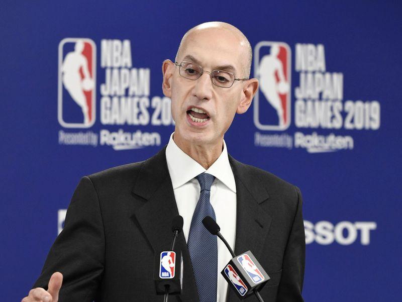 NBA Commissioner Adam Silver speaks during a news conference before the NBA preseason basketball game between Houston Rockets and Toronto Raptors at Saitama Super Arena in Saitama