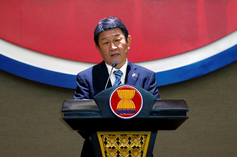 Japanese Foreign Minister Toshimitsu Motegi delivers his speech at ASEAN's Secretariat in Jakarta