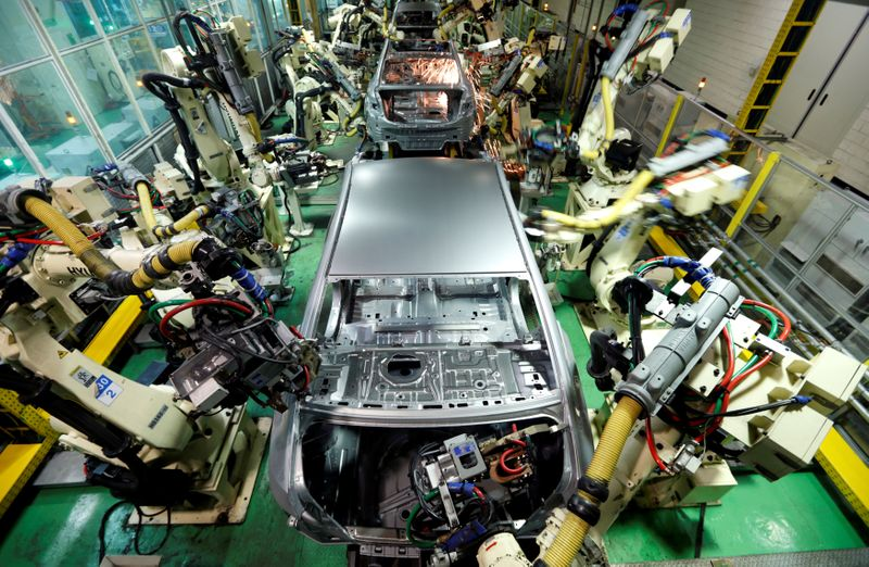 Hyundai Motor's sedans are assembled at a factory of the carmaker in Asan