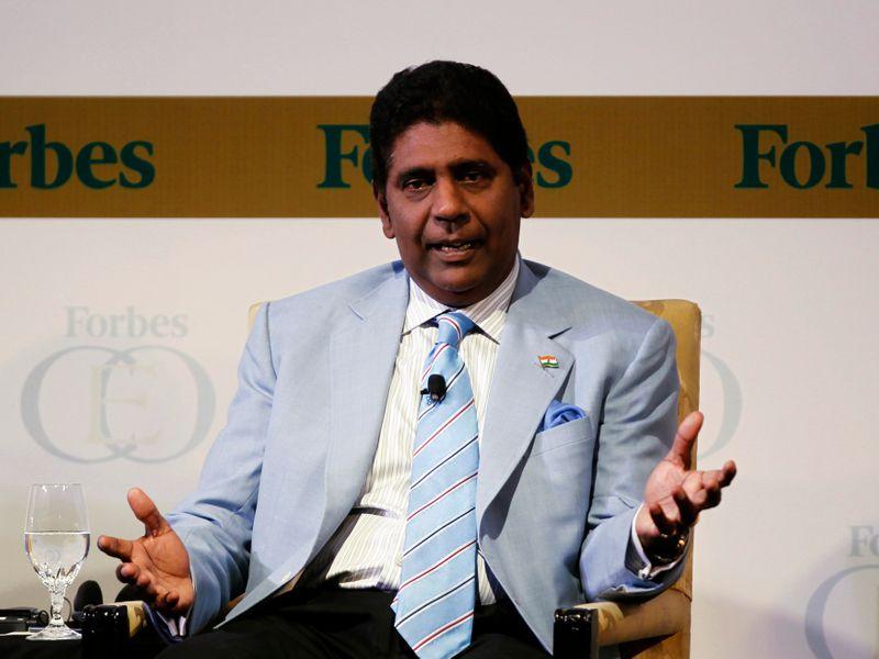 FILE PHOTO:  United States Vijay Amritraj Foundation Founder Vijay Amritraj speaks during Forbes Global CEO Conference in Kuala Lumpur