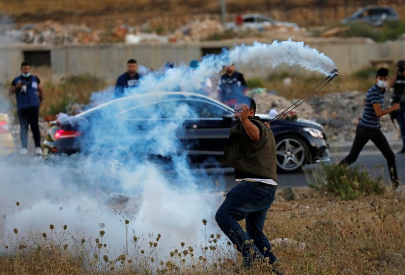 Palestinians protest against Israel's plan to annex parts of the Israeli-occupied West Bank