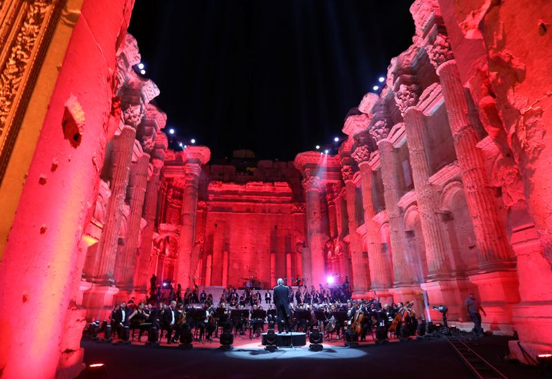 Musicians from Lebanon's philharmonic orchestra are seen on stage before the start of