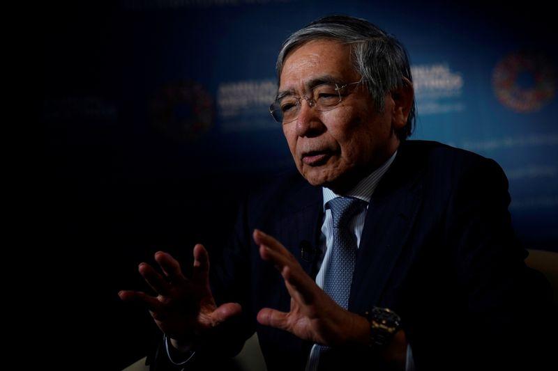Bank of Japan (BOJ) Governor Haruhiko Kuroda, speaks during an interview with Reuters in Washington