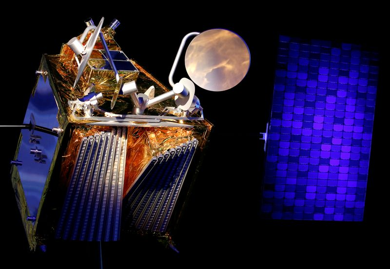 FILE PHOTO: A scale model of an Airbus OneWeb satellite and its solar panel are pictured as Airbus announces annual results in Blagnac, near Toulouse