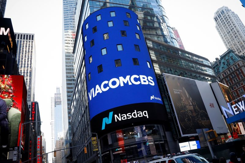 The ViacomCBS logo is displayed on the Nasdaq MarketSite to celebrate the company's merger, in New York