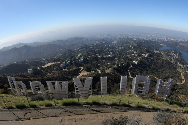 FILE PHOTO: Los Angeles is seen from behind the Hollywood sign in Los Angeles