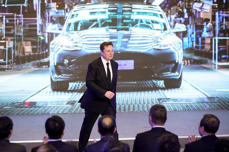 Tesla Inc CEO Elon Musk attends an opening ceremony for Tesla China-made Model Y program in Shanghai
