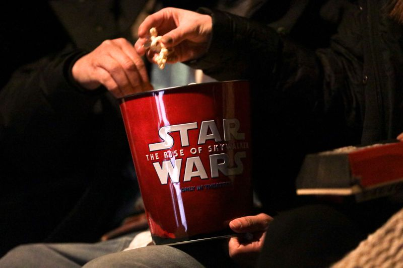 A Star Wars popcorn box is seen during the