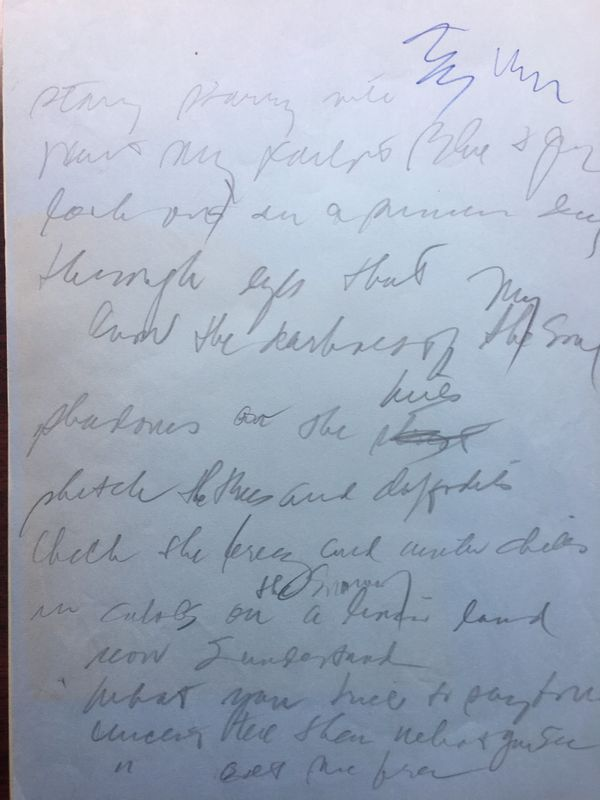Handout photo of the opening page of 14 pages of handwritten lyrics for Don McLean's 1971 song