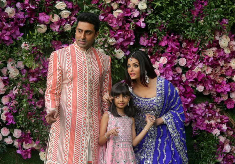 FILE PHOTO: Indian film actor Abhishek Bachchan, his wife Aishwarya Rai and their daughter Aaradhya in a 2019 photograph