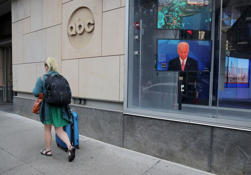 FILE PHOTO: A screen outside ABC's studios shows Democratic presidential candidate Joe Biden ABC's 'The View' in New York