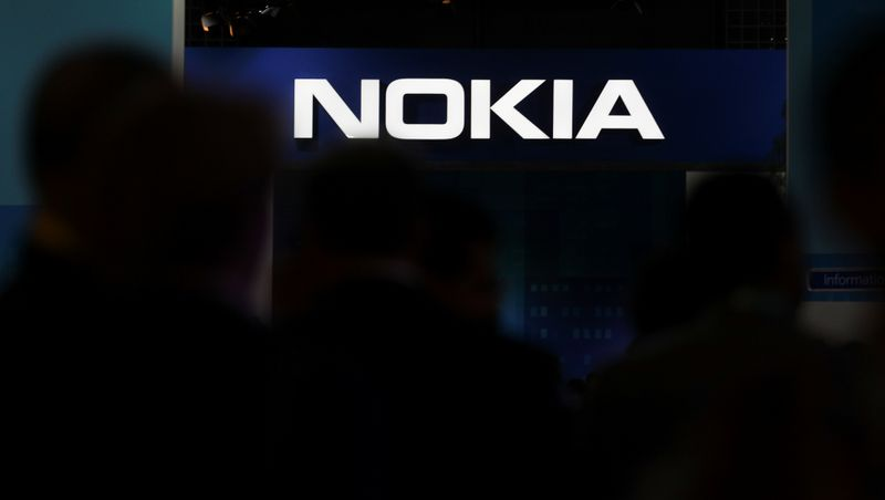Nokia logo is seen at the Mobile World Congress in Barcelona