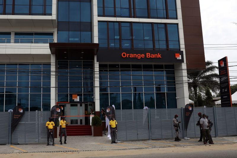 The bulding of the French mobile operator Orange is pictured as Orange launches its first Orange Bank services in Abidjan