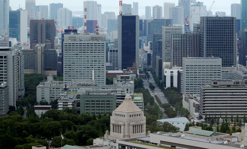 The Parliament Building is seen in front of office buildings of government ministeries in Tokyo