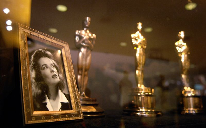 FILE PHOTO: Oscars previously presented to actress Katharine Hepburn are seen at the