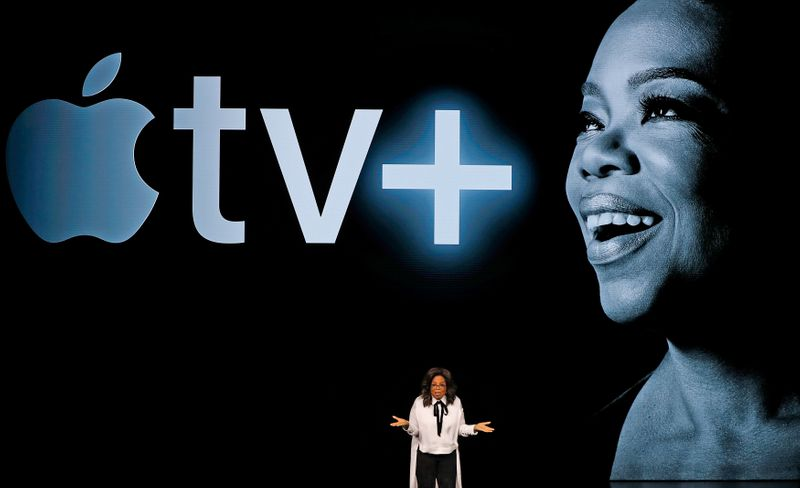 FILE PHOTO: Oprah Winfrey speaks during an Apple special event at the Steve Jobs Theater in Cupertino