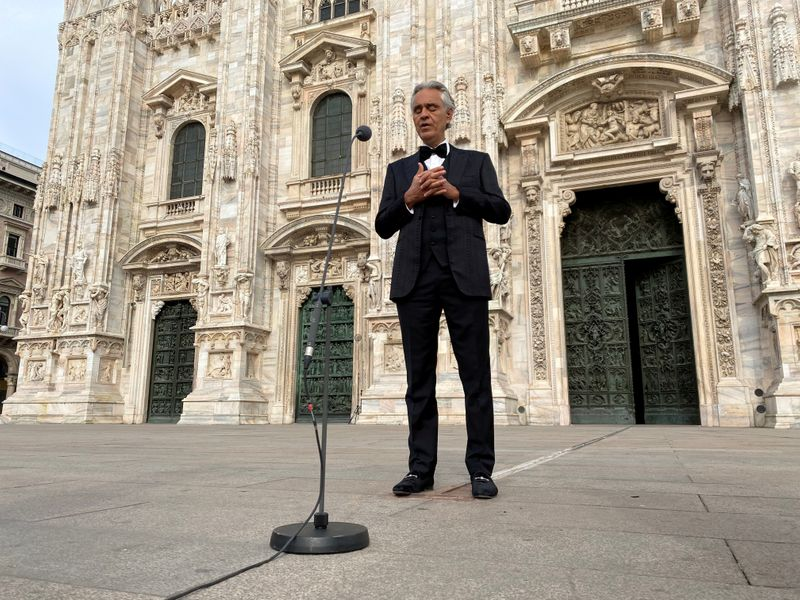 FILE PHOTO: Italian opera singer Andrea Bocelli participates in ''Music for hope'' event at an empty Duomo Cathedral in Milan