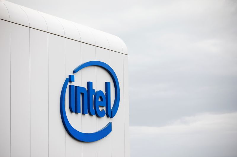 U.S. chipmaker Intel Corp's logo is seen on their