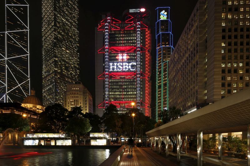 FILE PHOTO: The HSBC headquarters is lit up at the Central Financial District in Hong Kong