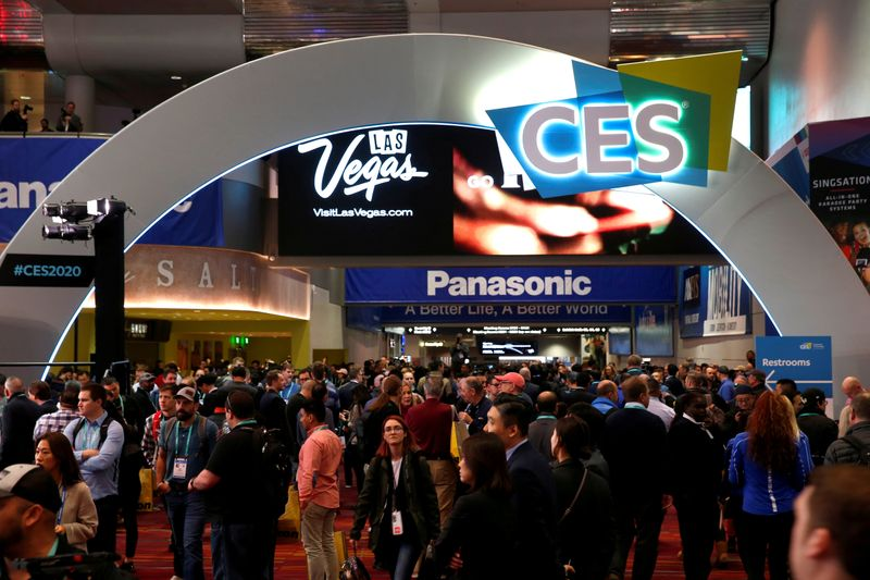 FILE PHOTO: Attendees fill the lobby of the Las Vegas Convention Center during the 2020 CES in Las Vegas