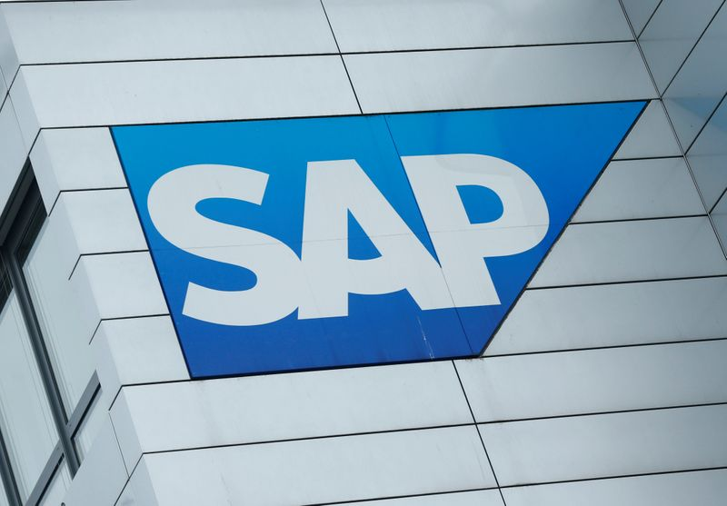 FILE PHOTO: SAP logo at SAP headquarters in Walldorf
