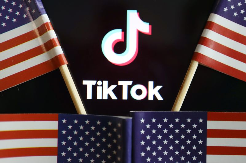 Illustration picture of Tiktok with U.S. flags