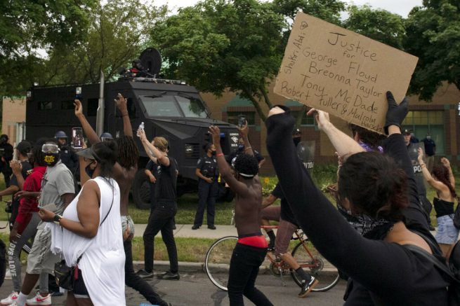 Protesters converge on scene of police-involved shooting in Detroit