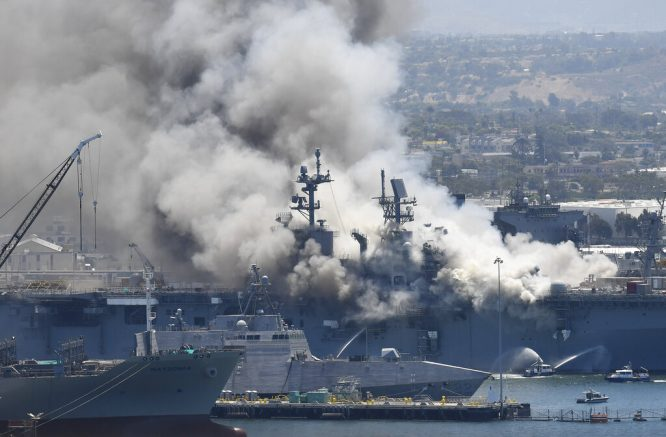 11 injured in fire aboard ship at California naval base