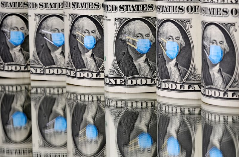 FILE PHOTO: George Washington is seen with printed medical mask on the one Dollar banknotes in this illustration taken
