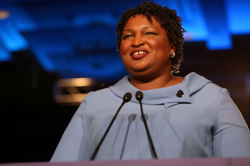 FILE PHOTO: Stacey Abrams speaks to the crowd of supporters announcing they will wait till the morning for results of the mid-terms election at the Hyatt Regency in Atlanta