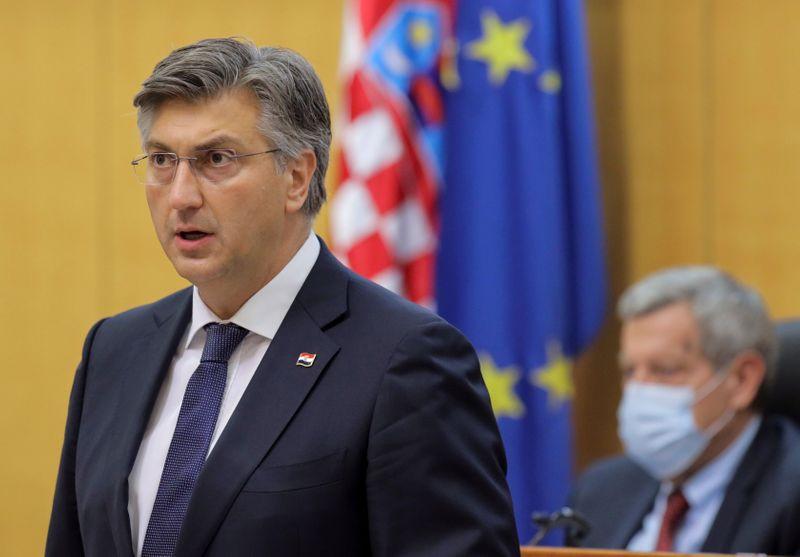 FILE PHOTO: Croatian Prime Minister Andrej Plenkovic speaks in  parliament in Zagreb