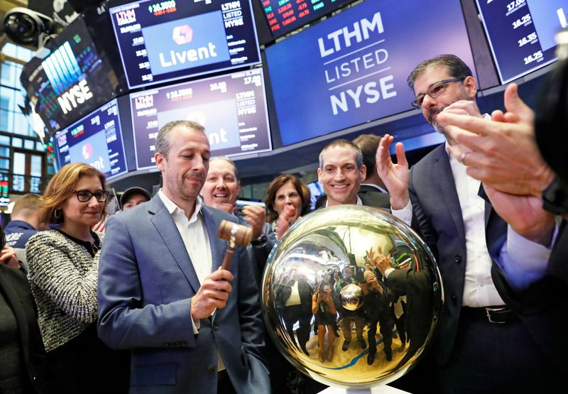 President and CEO Paul Graves and members of the leadership team from lithium producer Livent Corp ring the ceremonial bell to begin trading of the company's stock at the New York Stock Exchange (NYSE) in Manhattan as the company holds its IPO in New York