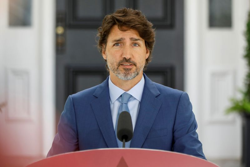 FILE PHOTO: Canada's Prime Minister Justin Trudeau attends a news conference in Ottawa