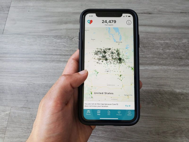 FILE PHOTO: The Care19 mobile app, which the governors of North Dakota and South Dakota have asked residents to download to assist in contact tracing during the global outbreak of the coronavirus disease (COVID-19), is seen on a phone