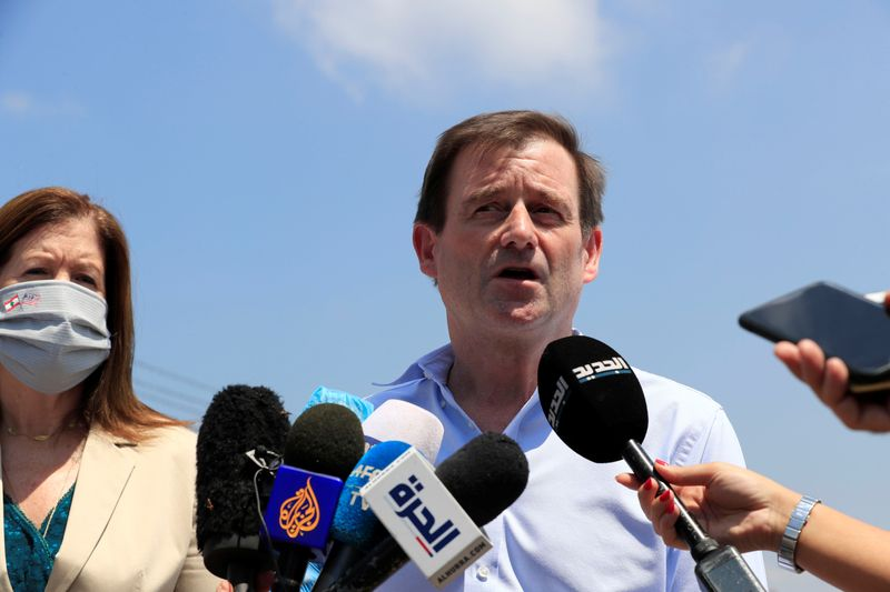 U.S. Under Secretary of State for Political Affairs David Hale speaks to the media after visiting the site of a massive explosion at Beirut's port