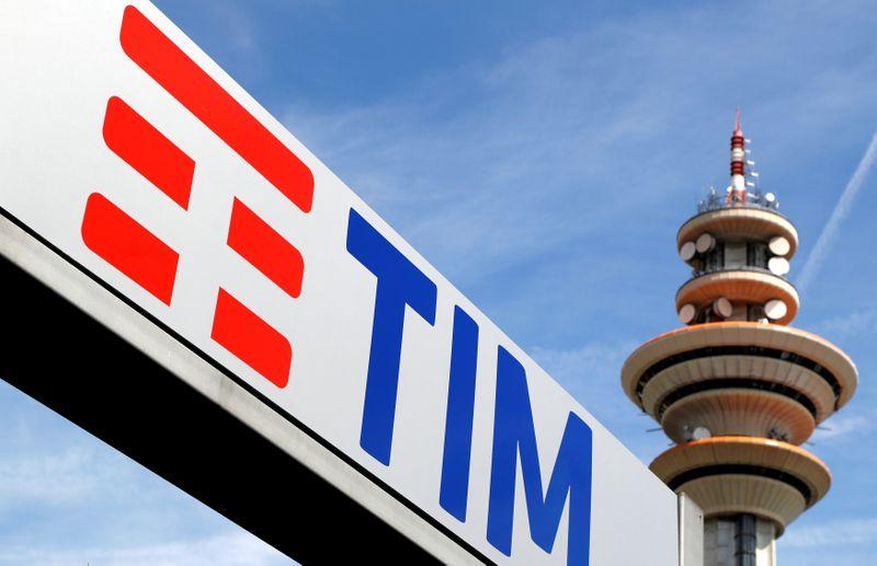 FILE PHOTO: Telecom Italia's logo is seen at the headquarters in Rozzano neighbourhood of Milan