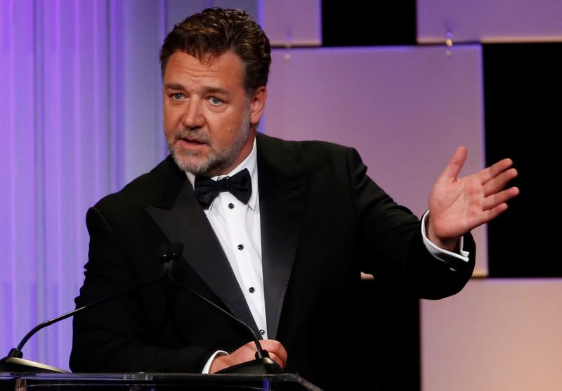 Actor Crowe speaks at the 30th annual American Cinematheque Award ceremony in Beverly Hills